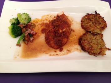 Poulardenbrust mit Pastinaken-Rösti und Brokkolini - Rezept