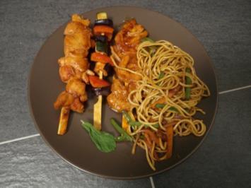 Rezept: Philippinisches Pancit mit BBQ Spießen dazu ein Curry-Mango-Dip