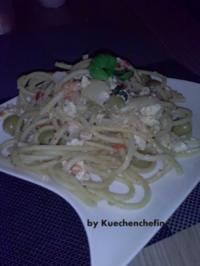 Spaghetti mit Fetakäse & Oliven - Rezept