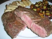 US Chuck Eye Steak mit Kräuterseitlingen und Rissolee Kartöffelchen - Rezept