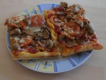 Schinken-Tomaten-Championpizza - Rezept