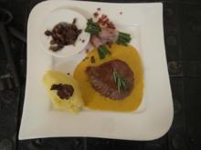 Dry Aged Rinderfilet mit Sauce Café de Paris, getrüffeltem Kartoffelpüree und Speckbohnen - Rezept