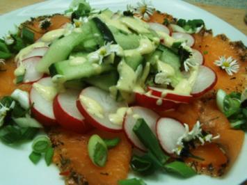 Lachs mit Gurken-Radieschensalat - Rezept