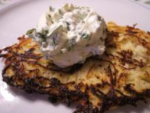 Kartoffeln: Baggers (Reibekuchen) mit Bärlauchcreme - Rezept
