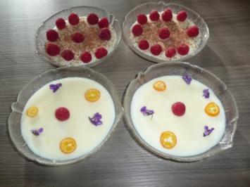 Karamellpudding mit frischen Himbeeren, Blockschokoladenraspel + oder Veilchen ! - Rezept