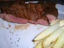 Chuck Eye Steak die 2te Variante, eingelegt und nur mit Spargel - Rezept
