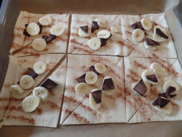 Schoko-Bananen-Blätterteighörnchen - Rezept - Bild Nr. 2