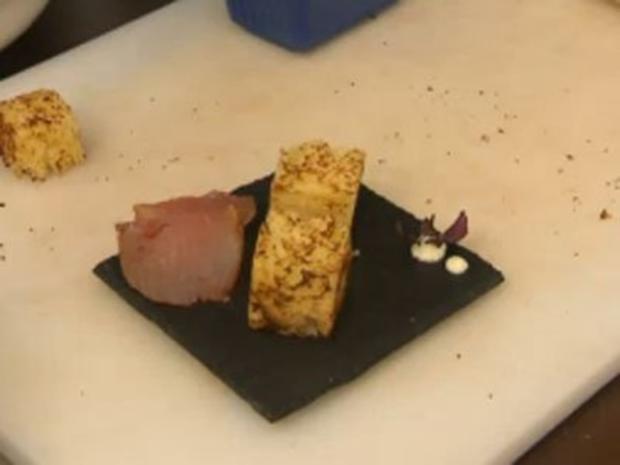 Brioche mit Parmesan-Mascarpone, selbst geräucherter Schinken vom Schweinefilet - Rezept