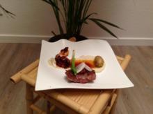 Secreto vom Iberico-Schwein, Oktopus und Topinambur mit Zwiebel und Kartoffel - Rezept