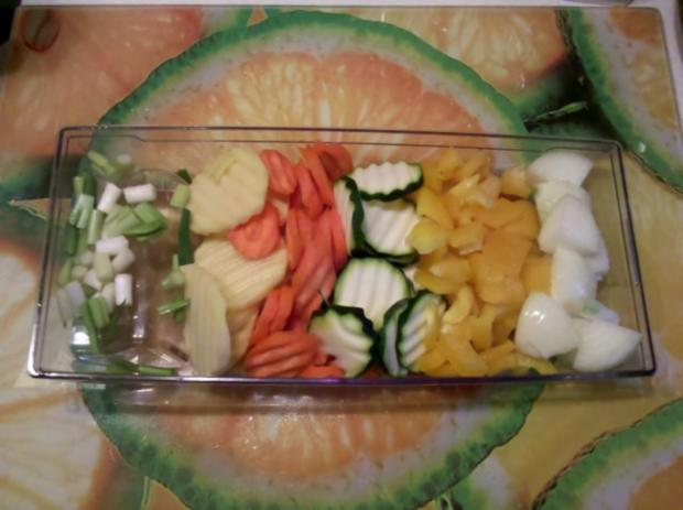Vegetarisch: Gedämpftes Gemüse mit käsiger Tomatensoße - Rezept - Bild Nr. 3