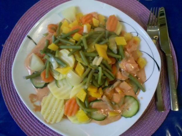 Vegetarisch: Gedämpftes Gemüse mit käsiger Tomatensoße - Rezept - Bild Nr. 11