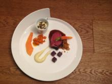 American Tenderloin an Karottenkonfit, Kartoffelschaum & Rotweinjus zu heiß-kaltem Suprise - Rezept