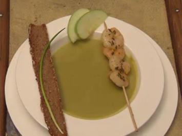 Granny-Smith-Suppe mit Tiefseegarnelen - Rezept