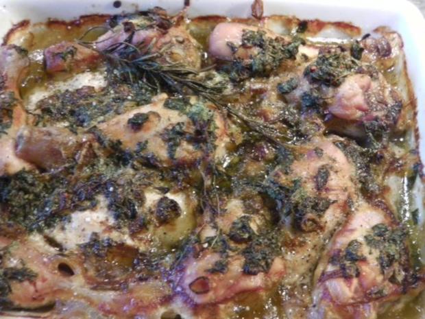 "Frühlings-Brathuhn mit Zitronen-Kräuterbutter  ""Pulled Chicken"" - Rezept - Bild Nr. 8"