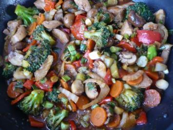 Rezept: Hähnchengeschnetzeltes aus dem Wok