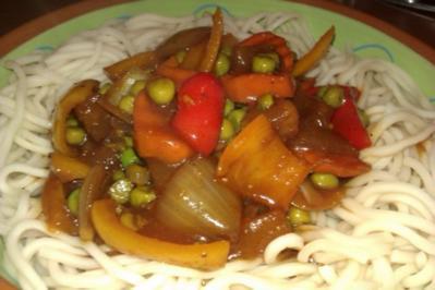 Gemüse Süß-Sauer mit Mie-Nudeln - Rezept