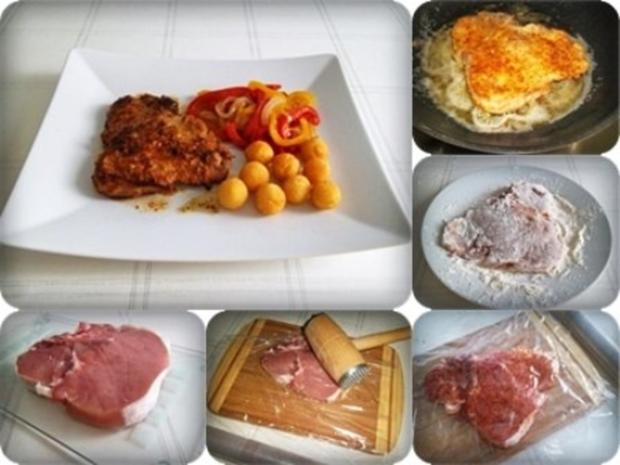 Schweinekotelett mit Kartoffelbällchen und Paprikasalat - Rezept - Bild Nr. 3