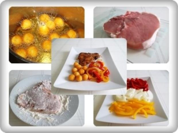 Schweinekotelett mit Kartoffelbällchen und Paprikasalat - Rezept - Bild Nr. 16