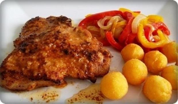 Schweinekotelett mit Kartoffelbällchen und Paprikasalat - Rezept - Bild Nr. 19
