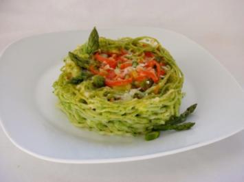 Überbackene Spaghetti-Nester mit Spargel, Bärlauch, Hühnerfleisch.. - Rezept