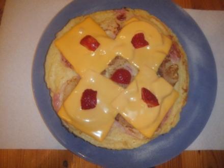Pfannkuchen Hawaii mit Kochschinken und Käse überbacken - Rezept
