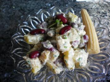 Salat: Kartoffelsalat mit Kidneybohnen und Babymais - Rezept