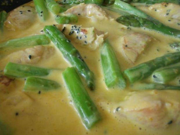 Pute mit Sesamkruste  in Käsesauce mit grünem Spargel - Rezept - Bild Nr. 11