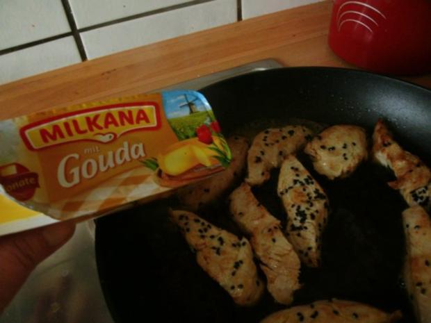 Pute mit Sesamkruste  in Käsesauce mit grünem Spargel - Rezept - Bild Nr. 9