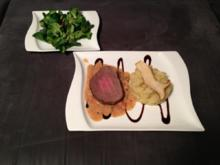 Rinderfilet mit Sellerie-Kartoffelstampf, dazu Feldsalat mit Kartoffel-Senf-Dressing - Rezept