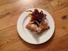Ebbes für die Hüfte Pfannenkuchen gefüllt mit einer weißen Schokoladencreme und Beereneis - Rezept
