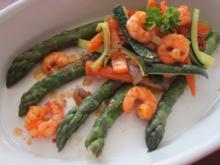 Spargelplatte mit Garnelen ,Möhren und Zucchinis - Rezept