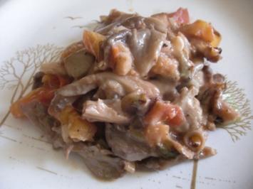 überbackene Austernpilze mit Lauchzwiebeln und Tomate - Rezept