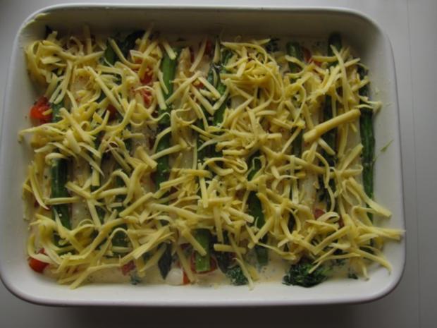 Spargelauflauf mit Spinat, Tomaten und Lachs - Rezept - Bild Nr. 8