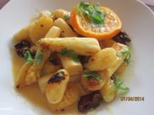 Gebratener Spargel mit Gnocchi und Mandarinen -Hollanddaise - Rezept