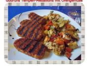 Vegetarisch: Tempeh Medaillons mit Ofengemüse - Rezept