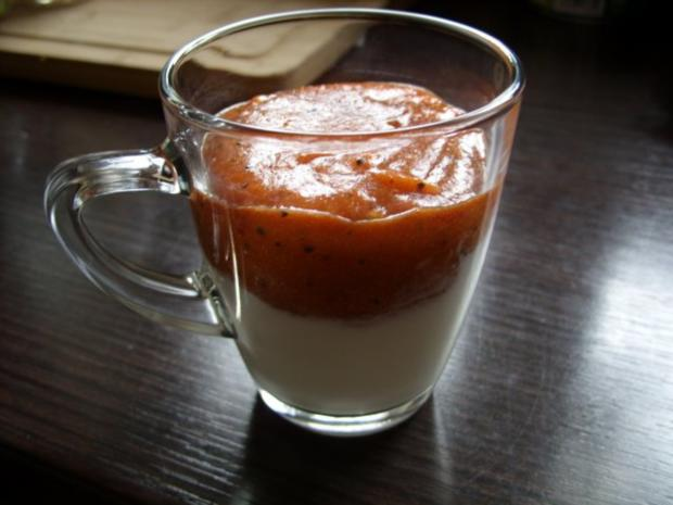 Dessert. Joghurt mit exotischer Froop-Haube - Rezept