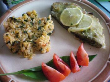 Fisch: Heilbutt mit Reis rot-grün - Rezept