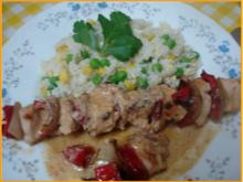 Hähnchenbrustfiletschaschlik mit Erdnusssauce und Gemüsereis - Rezept