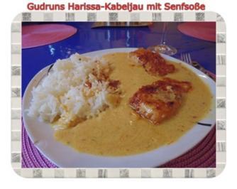 Fisch: Harissa-Kabeljau mit Senfsoße und Duftreis - Rezept