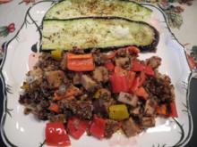 Vegan : Rotes Quinoa mit buntem Paprika,veganem Kochschinken,gebratem Fenchel + Aubergine - Rezept