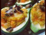 Gefüllte Zucchini mit Pilz-Polenta - Rezept