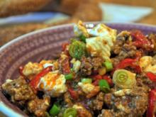 Paprika-Hackpfanne mit Ziegenfeta - Rezept