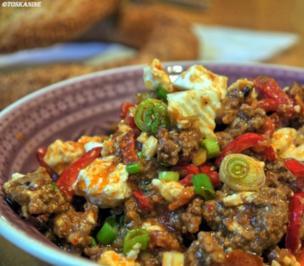Rezept: Paprika-Hackpfanne mit Ziegenfeta
