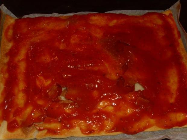 Cabanossi Pizza mit Käsefondue - Rezept - Bild Nr. 2