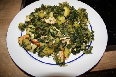 Hähnchen-Spinat-Kartoffel-Pfanne - Rezept