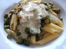 Pasta: Penne mit Spargel und Gorgonzolasoße - Rezept