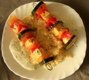 Rezept: Gemüse-Feta-Spieße mit Joghurt Dip