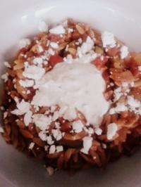 Griechische Pfanne mit Tzaziki und Feta - Rezept