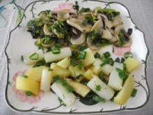 Vegan : Porree - Champignon - Pfanne mit Spargel und Kartoffeln - Rezept