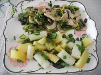 Rezept: Vegan : Porree - Champignon - Pfanne mit Spargel und Kartoffeln